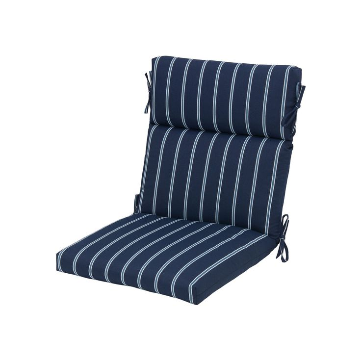 Plantation Patterns Outdoor Dining Chair Cushion, Blue