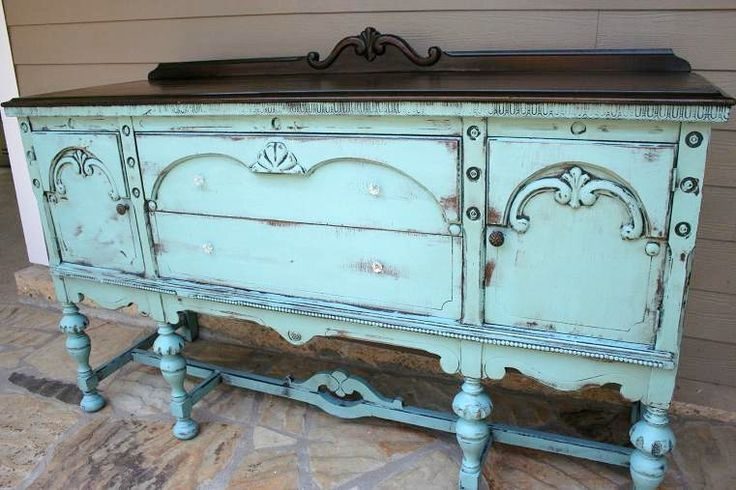 Painted blue vintage buffet sideboard with dark stained top