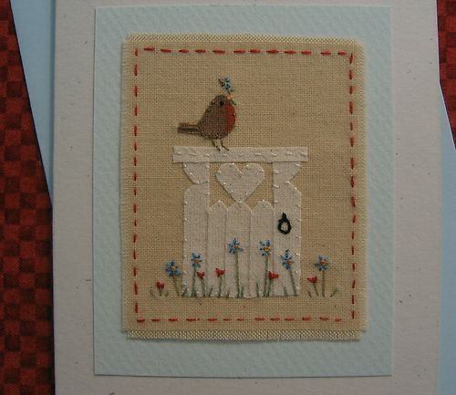 Hand-stitched card by Helen Drewett GARDEN GATE - lots more designs in my shop! | eBay