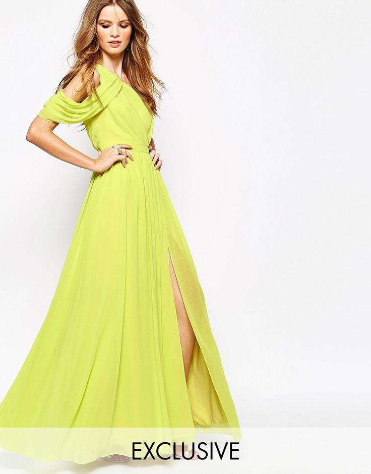 Katy yellow pleated maxi dress