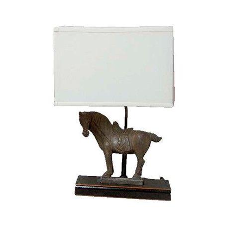 Lámpara caballo marrón y pantalla Ancho 55 / Fondo 30 / Alto 83
