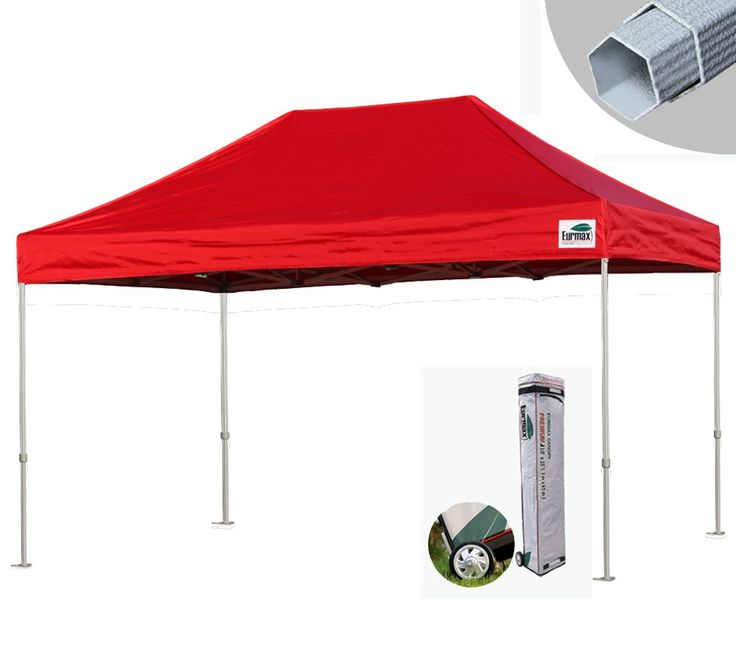Eurmax Canopy Premium Display Shade Kit - Commercial Canopy Pop up Tent with Roller Bag (Red, 10x15)