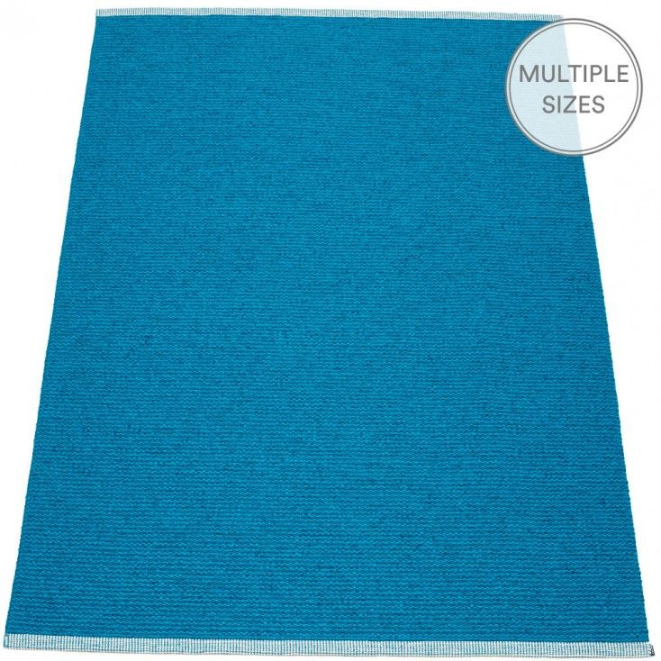Create a colour happy home with Pappelina's large petrol Mono rug. Woven using a mélange of two shades of petrol blue, Mono is guaranteed to add a pop of colour to any floor. The large Mono rug has a double hemmed edge, and is available in three sizes. Ideal for numerous areas of the home, and the benefits are many - such as; water-resistant. Pappelina rugs are woven from soft plastic using traditional Swedish techniques, they are fully reversible and washable.