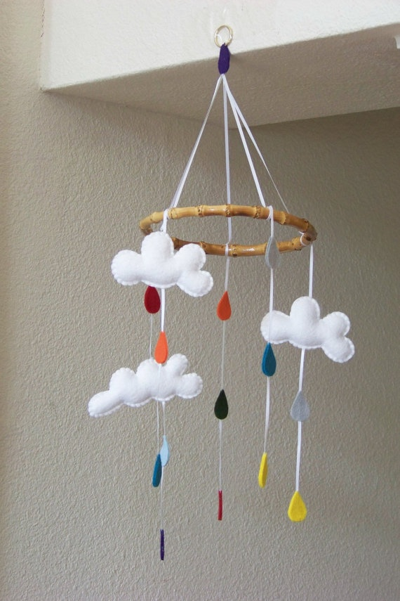 """Baby Mobile - Baby Crib Mobile - Cloud Mobile - Nursery Baby Room """"Drip Drop"""" (You can pick your colors). $60.00, via Etsy."""