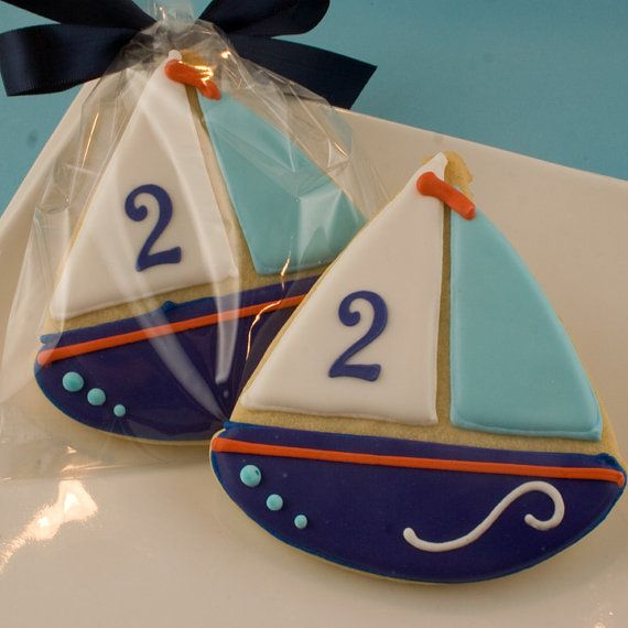 Sailboat cookies Beach Nautical Summer party - 12 Decorated Sugar Cookie Favorsa Truly Scrumptious Cookies