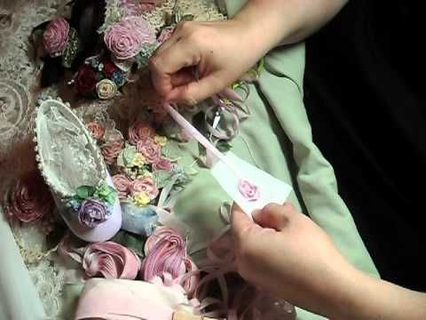 How to make a silk ribbon rose with leaf
