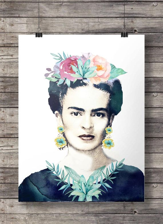 Frida kahlo watercolor flowers printable