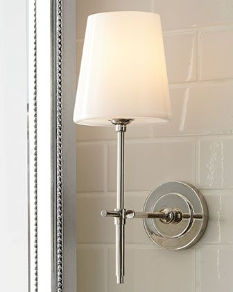Master Bath or Powder Room Sconces? Bryant Sconce with Glass Shade by Visual Comfort at Horchow.