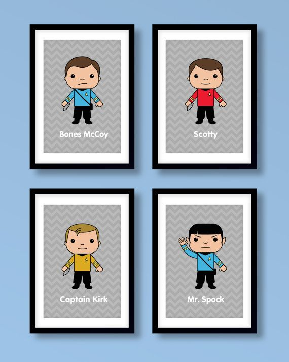 Star Trek inspired wall art.    These fun prints would make a great addition to any house. The print set features 4 classic Star Trek characters from