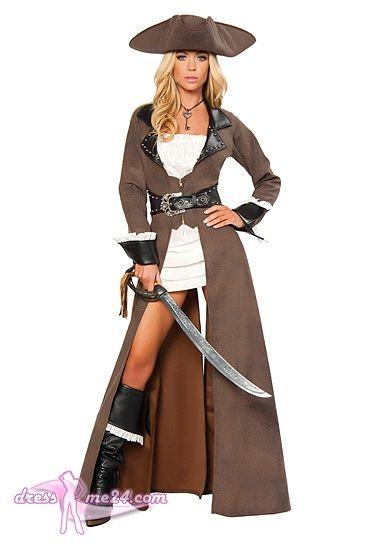 Besuche uns gern auch auf dressme24.com ;-) Sexy Piraten Kostüm - Piraten Braut - Sexy Piratenbraut. 4 teiliges Set bestehend aus: Sonnenbrauner langer Trench Coat mit Reißverschluß und Schnalle vorn. Cremefarbenes kurzes  Minikleid. Extravagenter Dreieckshut. Großes Schwert. #Piratenkostüm, #Faschingskostüme, #Damenkostüme