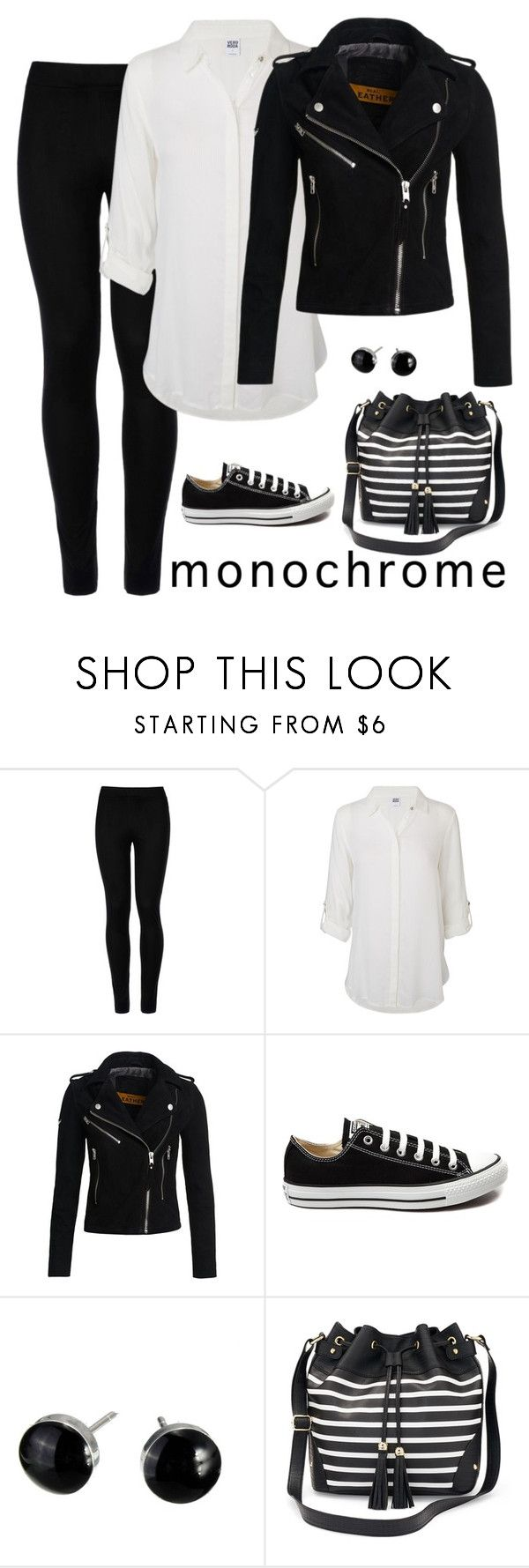 """Monochrome"" by mrseclipse ❤ liked on Polyvore featuring Wolford, Vero Moda, Superdry, Converse, Apt. 9, monochrome and Leggings"