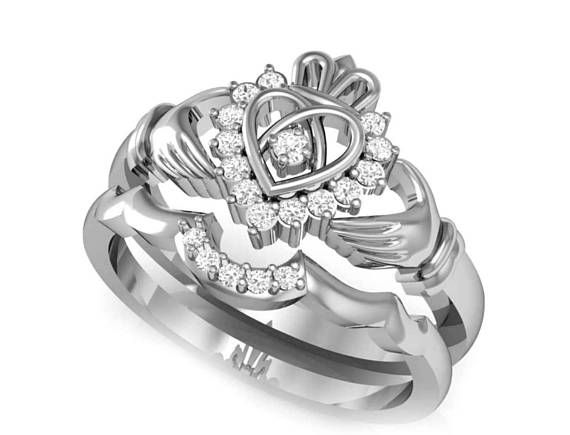 Claddagh Engagement Ring Set Celtic Claddagh Ring  Claddagh