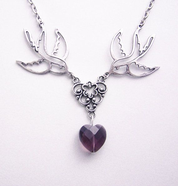 New model here: www.etsy.com/listing/264520846/purple-heart-necklace-romantic-jewelry Swallow heart necklace Romantic Jewelry Birds romantic necklace Purple Crystal Heart Necklace Rockabilly Jewelry €14