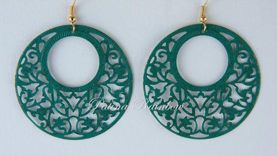 Teal Green Patina Earrings Filigree Earrings by PatinaRainbow