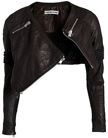Black leather zip bolero jacket