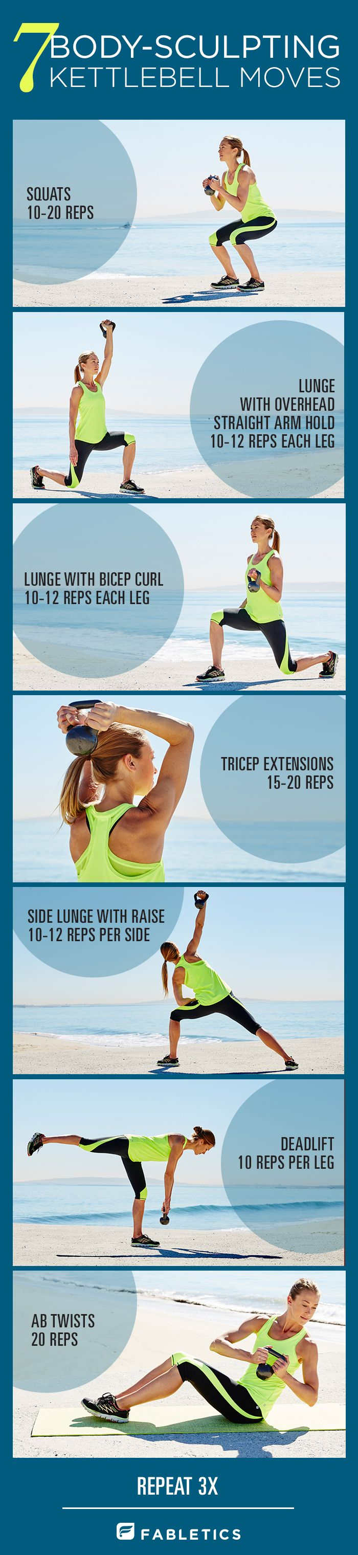 Kettlebell workouts are designed to strengthen and tone your entire body–upper and lower at the same time.  When you work on increasing strength and muscle tone, you'll burn more calories at rest.  Here are some moves to include in your fitness routine. | Fabletics Blog