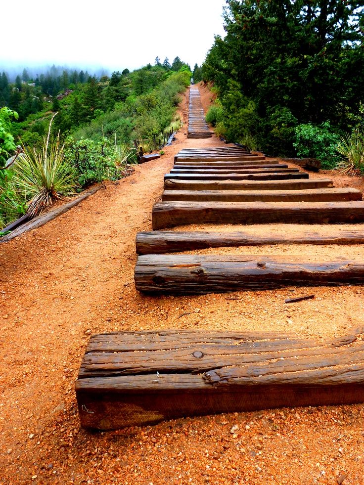 The Manitou Incline....  2,000 vertical ft in 1 mile, it's been too long!: Climbing 2 000, Favorite Places, Colorado Country, 2 000 Vertical, Heavy Rain, Coach Husband, Climbs 2 000, Awesome Places, Beautiful Things