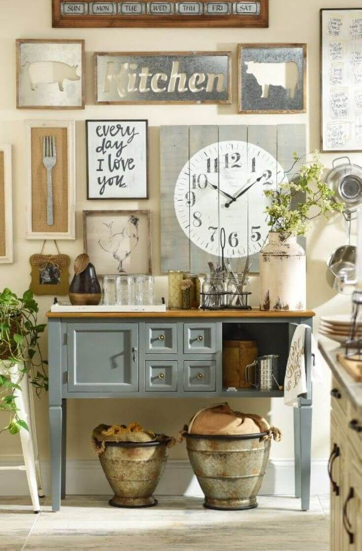 country kitchen wall decor cabinets doors cottage style idea with art