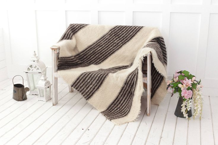 Wool blanket, striped throw, white grey, throw blanket, sofa throw, Scandinavian home decor, queen size bed blanket, hand woven throw by SheepWoolBlankets on Etsy https://www.etsy.com/listing/509434438/wool-blanket-striped-throw-white-grey