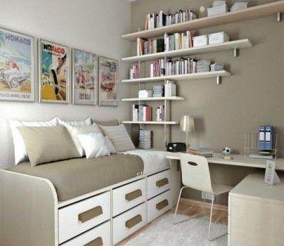 Chambre marron pour ado avec lit à tiroirs