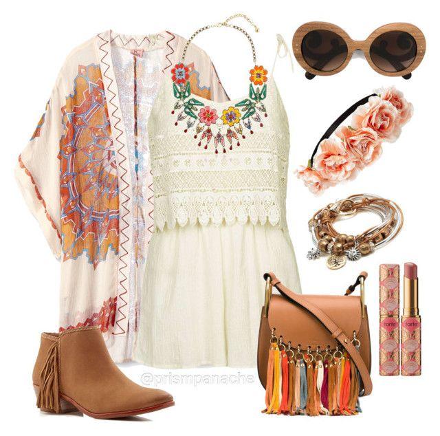 Coachella Crochet & Crowns  Theodora & Callum #Kimono //  #SamEdelman Paige #FringeBooties //  #Shourouk Calusa #StatementNecklace // #TopShop Crochet #Romper // #PradaSunglasses //  #Forever21 #FlowerCrown Headband // / #LizzyJames Boho with Gold #TreeofLife Charm #WrapBracelet // #Chloe Small Hudson #TasselBag // #Tarte #RainforestoftheSea Quench Lip Rescue in Nude // #coachella #coachellafashion #coachellastyle #festivalfashion #festivalstyle #bohochic #bohobabe #hippiechic #crochetromper…