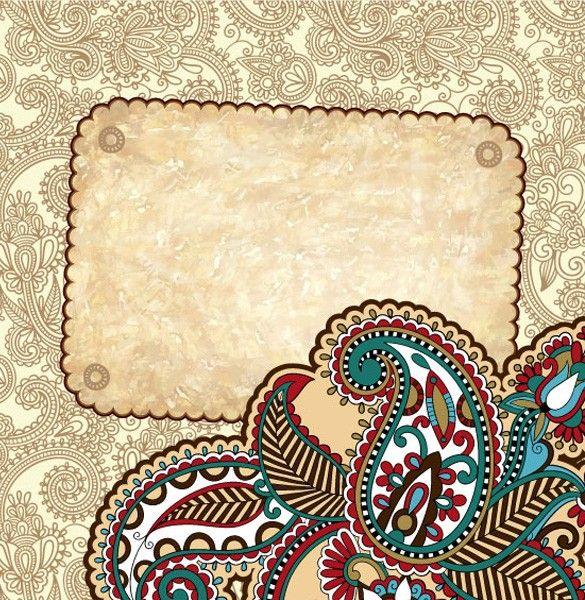 XOO Plate :: Retro Floral Paisley Vector Background - Detailed retro paisley floral card vector background.