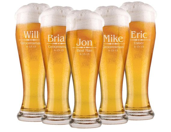 Etched Beer Glasses, Personalized Pilsner Glasses, 2 Custom Beer Mugs, His and Hers Gift, Wedding Favor for Dads, 16oz Glassware on Etsy, $24.50