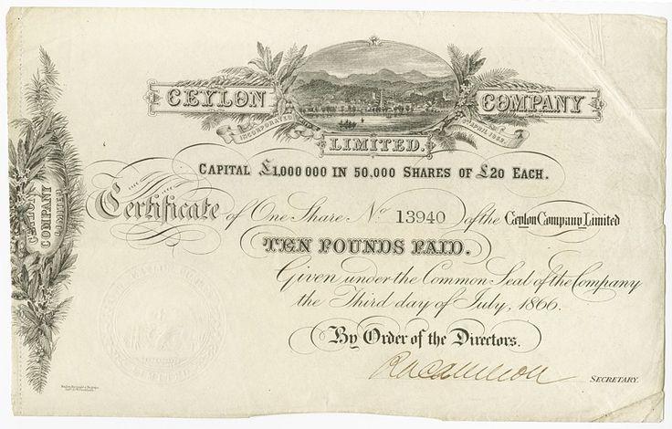Ceylon Company. Aktie über £20. 3. Juni 1866