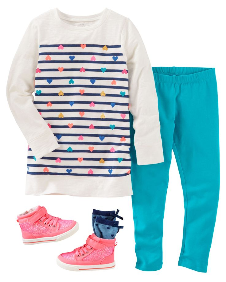 Colorful mini hearts look sweet over leggings and matching socks. Neon sparkle high-tops give the outfit that extra kick!