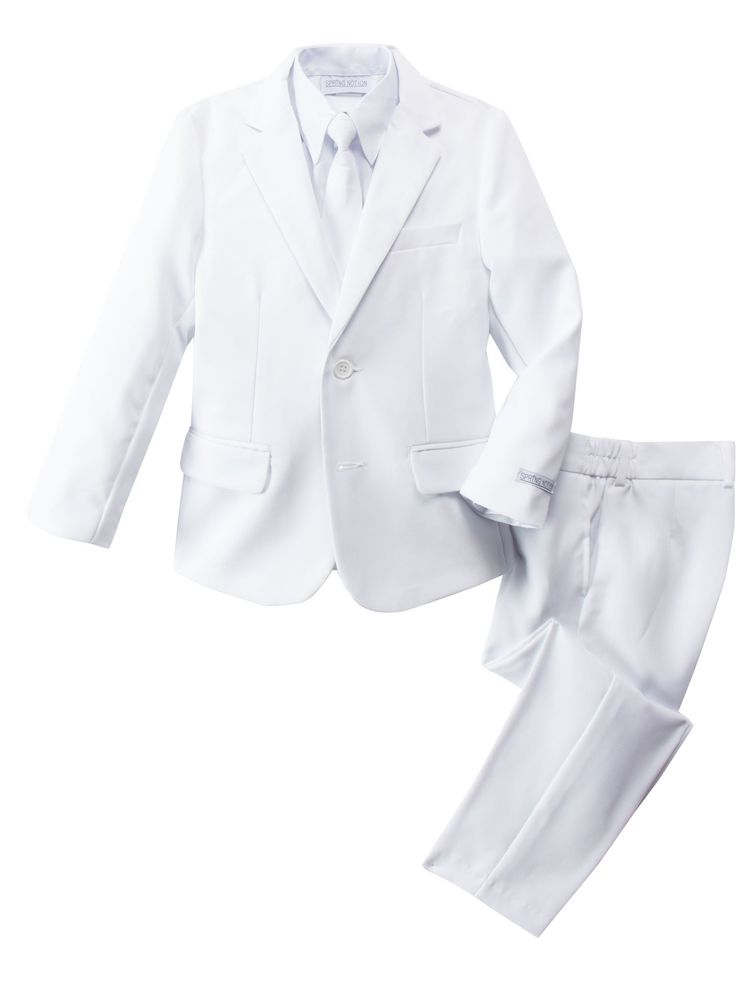 Spring Notion Little Boys' Modern Fit Dress Suit Set 6 White. Single breasted jacket, slightly tapered at the waist. Fully lined. 100% Polyester. White long sleeve dress shirt (65% polyester, 35%cotton). For size 2T-4T, pants has flat front and elastic back. For size 5 to 20, pants has button zipper front and elastic sides. Fully lined vest. For up to size 6, neck tie is a clip tie, for size 7 and up adjustable around the neck tie with buckle at back for easy closure. For best fitting...