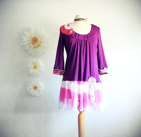 Women s Purple Top Neon Pink Long Tunic by BrokenGhostCouture, $58.00