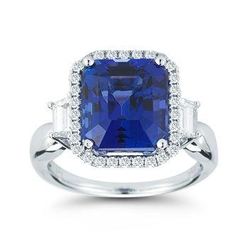 Emerald Cut Tanzanite & Diamond Ring 18kt White Gold