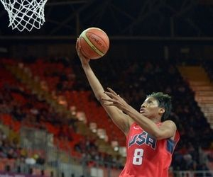Jul 30, 2012; London, United Kingdom; United States guard Angel McCoughtry (8) shoots the ball in a preliminary game against Angola during the London 2012 Olympic Games at Basketball Arena. The United States defeated Angola 90-38. Mandatory Credit: Kirby Lee-USA TODAY Sports
