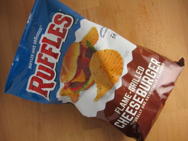 Frito Lay's Ruffles Flame-Grilled Cheeseburger-flavored chips