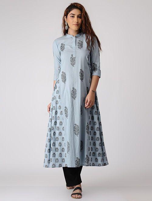 Grey-Blue Block-printed Cotton Kurta