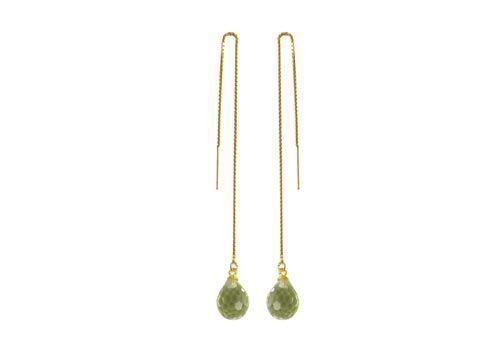 Ørekæder med anborede krystaldråber - Til disse øreringe er der brugt følgende materialer:  2 stk. anboret dråbe, facetteret krystal 2 stk. forgyldt stiftøsken med skål 1 par forgyldt ørekæde med øje 12cm + lim