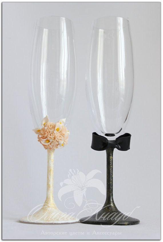 Wedding glasses Swarovski Crystal champagne flutes by OlgaKnaub, $75.00