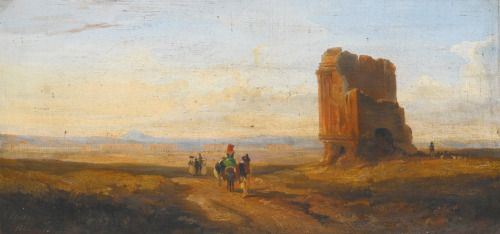 A View of the Roman Campagna with Travelers Passing a Ruined Brick Tomb, an Aqueduct in the Distance by Edward Lear, 1841