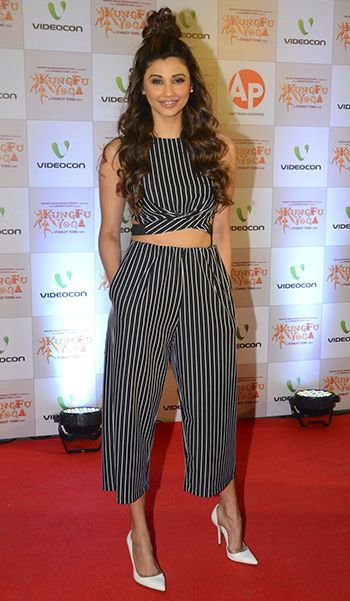 Daisy Shah in an ensemble by Fancy Pants and Zara shoes