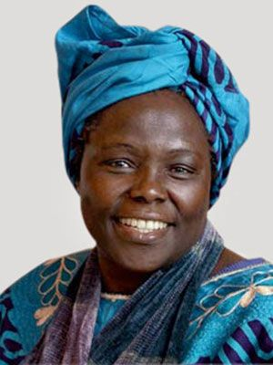 Wangari Maathai  1940-  GREEN ACTIVIST  The first environmentalist and first African woman to win the Nobel Peace Prize, Maathai was beaten and jailed as a leader of Kenya's democracy movement. She rallies women to plant trees (more than 45 million so far, in Africa, America, and elsewhere), thus creating jobs for the poor, fighting deforestation and erosion, and creating lots of nice oxygen for all of us.