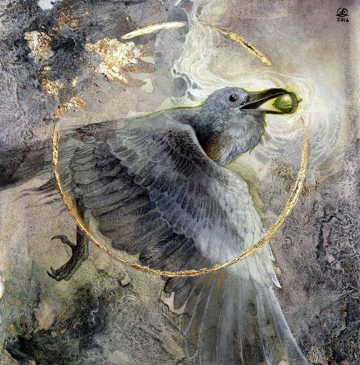 """""""Token"""" #watercolor #goldleaf #raven #acorn"""