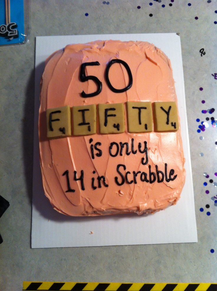 Scrabble cake. Great, funny 50th Birthday cake.50 it's only a number!