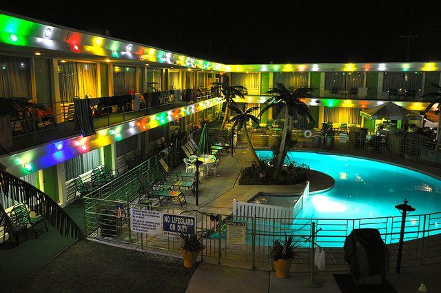 The Caribbean Motel Wildwood NJ, Night Shot by Mod Betty / RetroRoadmap.com, via Flickr