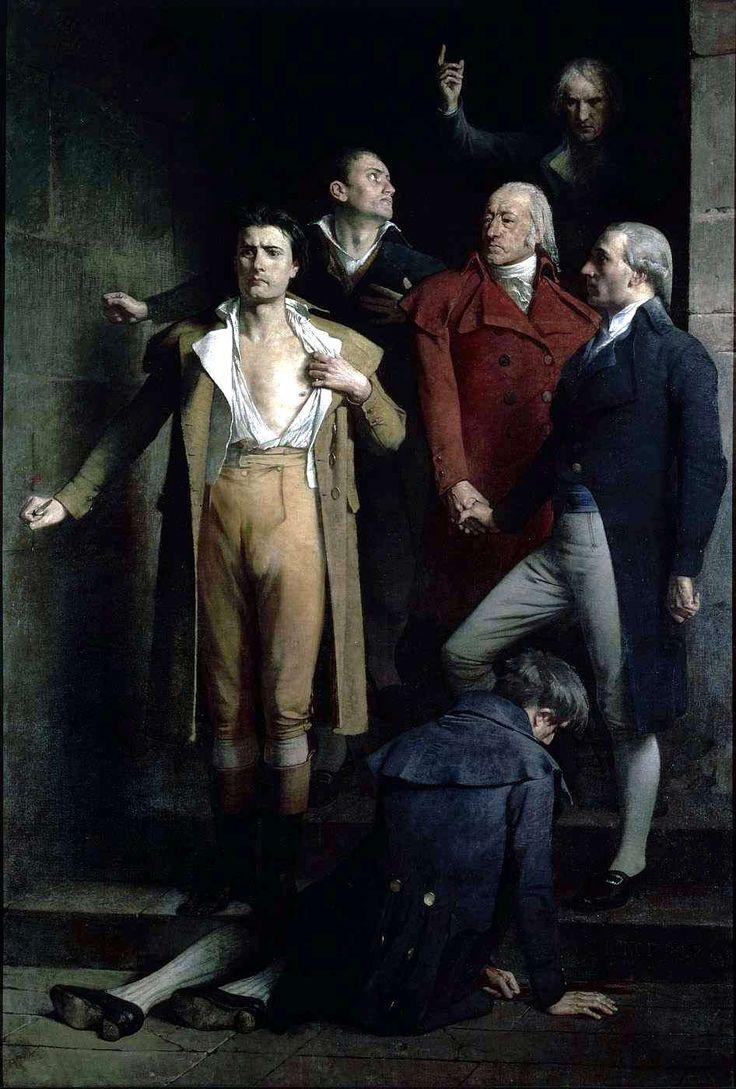 """""""Les derniers Montagnards"""" par Charles RONOT (1882)  Sous le Directoire, des parisiens révoltées envahissent la salle de la Convention le 1er prairial an III (20 mai 1795) pour réclamer « du pain et la Constitution de 1793 ». En vain. La Convention est finalement délivrée par la garde nationale et Six députés montagnards sont arrêtés et condamnés à mort (Romme, Goujon, Duquesnoy, Bourbotte, Duroy et Soubrany). Les trois premiers se poignardent au sortir du tribunal."""