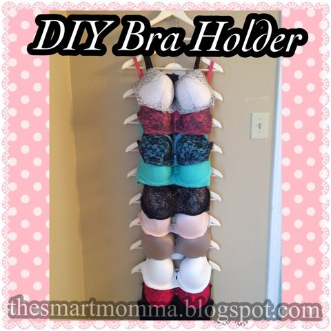 Today I made this lovely bra holder. It was inexpensive and took minimal time.  I bought two packs of these suit hangers from Walmart for a ...