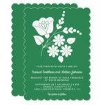 Motif Floral Folk Art Sea Green Wedding Invitation #weddinginspiration #wedding #weddinginvitions #weddingideas #bride