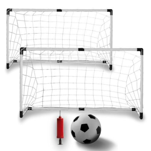 Amazing Set of Two Sports Kids Soccer Goals with Soccer Ball and Pump Kids Fun Brand New