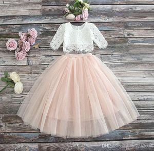 Sarah Lee 2 Pc Lace Top and Tulle Skirt Flower Girl Set 7