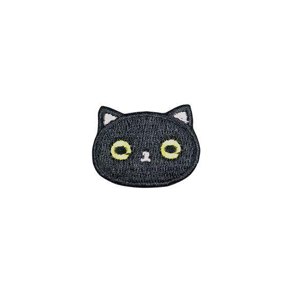 Lindo gato negro parche bordado de dibujos animados de animales coser parches…