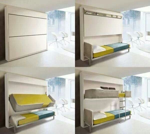 Hidden in wall fold out bunk beds bus ideas pinterest - Fold up beds for small spaces ...